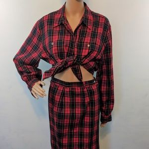 Vintage Red Plaid Long Skirt and Long Sleeve Top